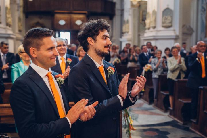 matrimonio arancio cravatte testimoni