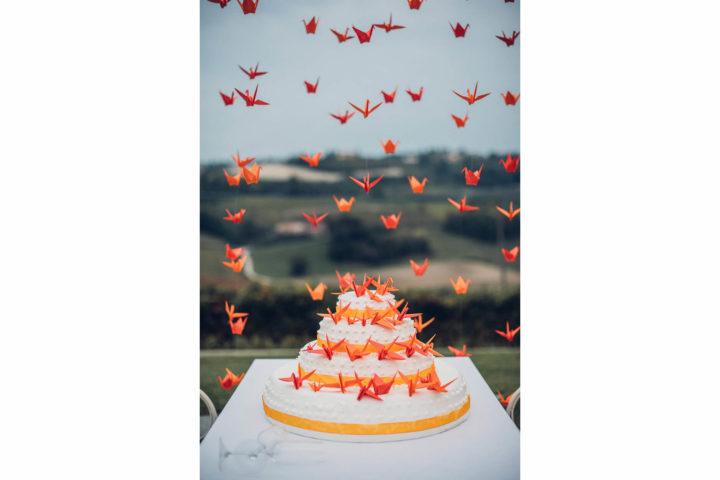matrimonio arancio torta origami
