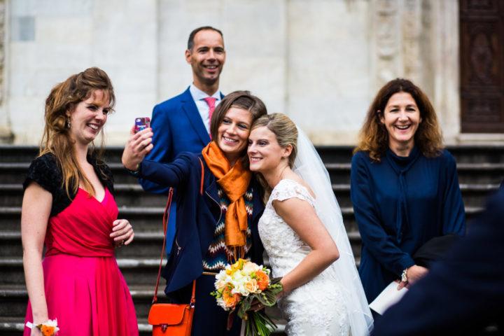 matrimonio arancio selfie sposa