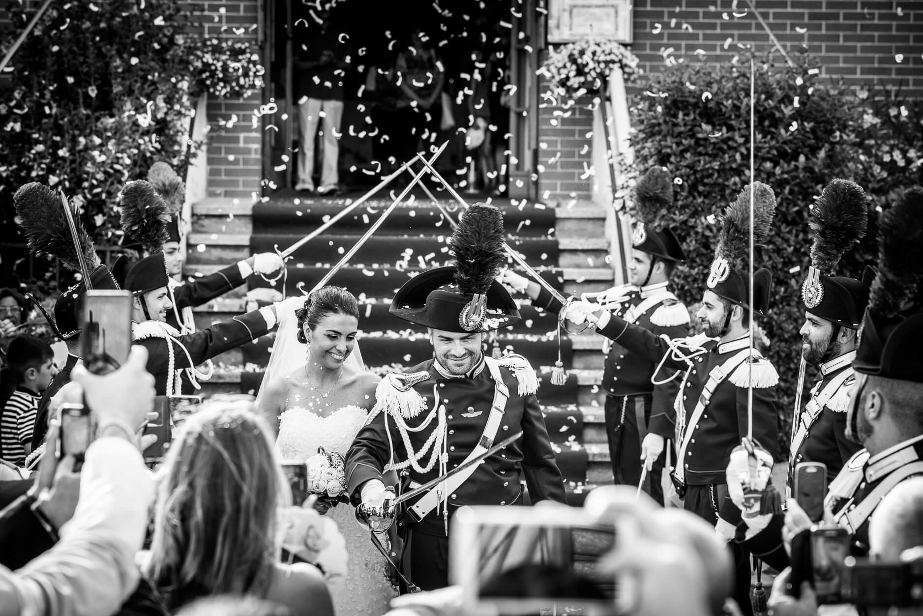 Picchetto d'onore matrimonio carabiniere
