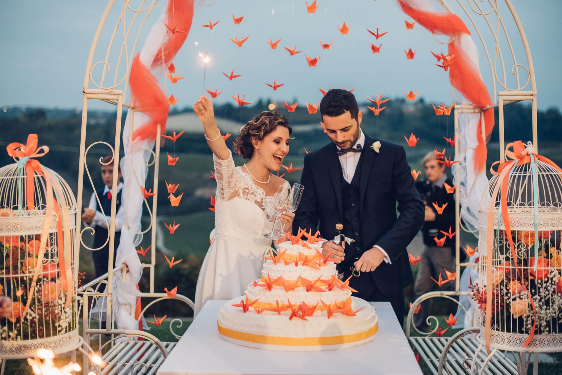 tema matrimonio origami torta