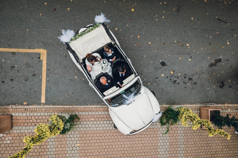 auto sposa foto dall'alto