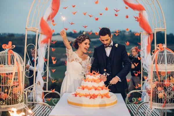 origami gru matrimonio arancio